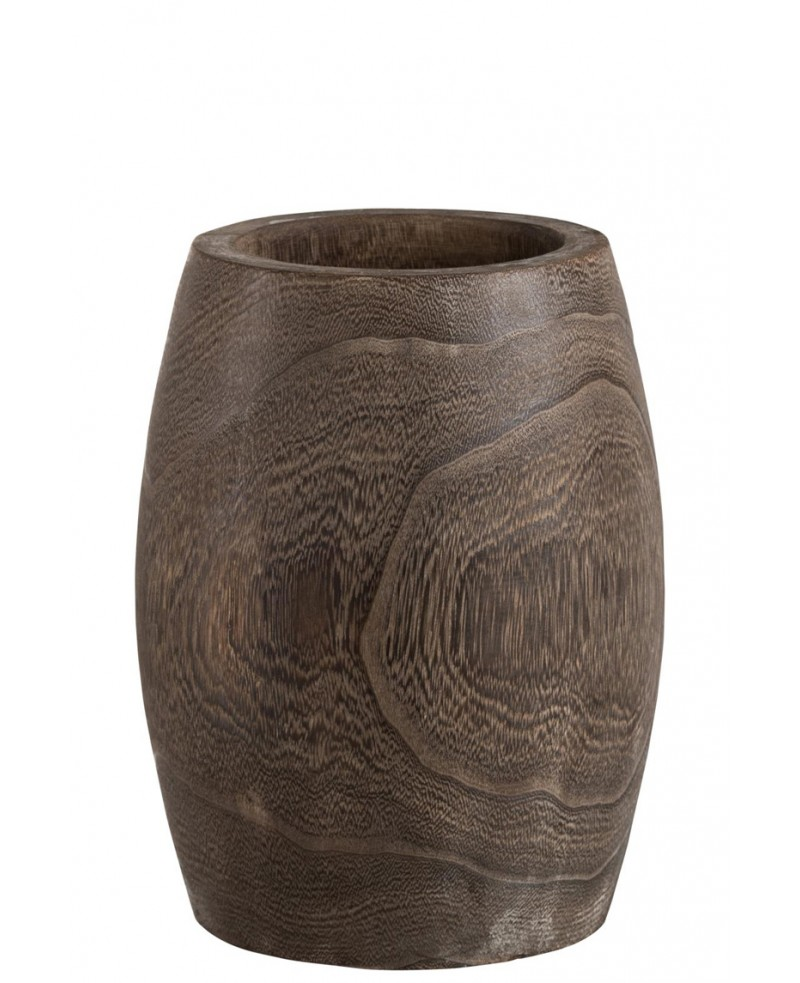 CACHEPOT CYLINDRIQUE PAULOWNIA MARRON FONCE SMALL