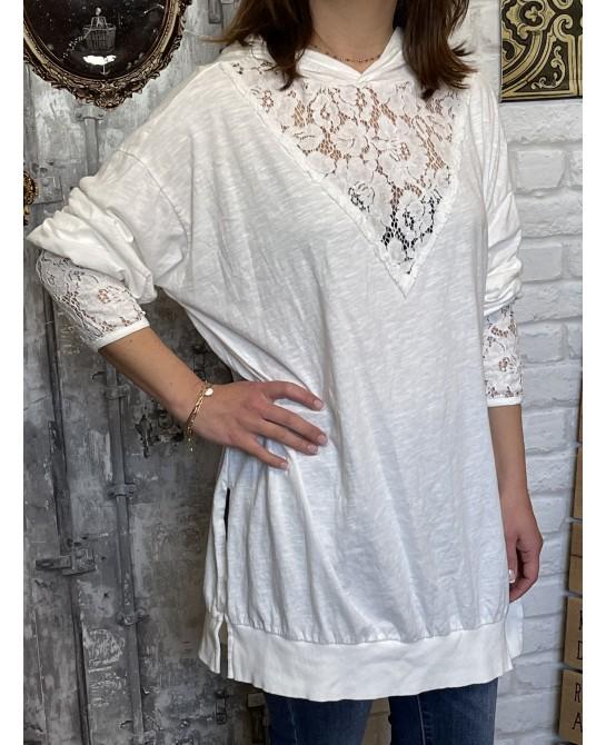 T-shirt Capuche Blanc...